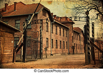 main gate entrace into the death camps in poland - photo...