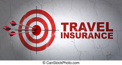 Insurance concept: target and Travel Insurance on wall...