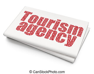 Tourism concept: Tourism Agency on Blank Newspaper...