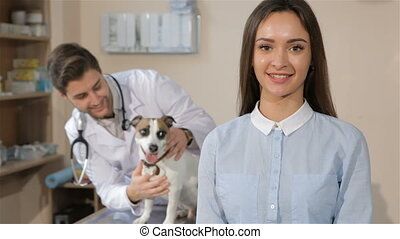 Girl approves veterinarian clinic - Pretty caucasian girl...