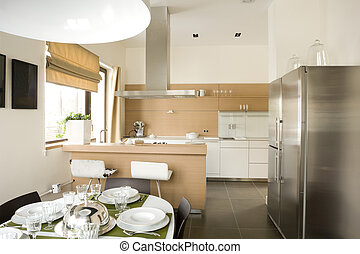 interior of dinning room and a part of kitchen