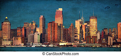 beautiful new york cityscape over the hudson - grunge photo...