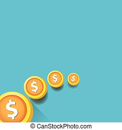 abstract business background with falling coins.