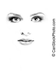 White face of woman - White face of young beauty woman at...