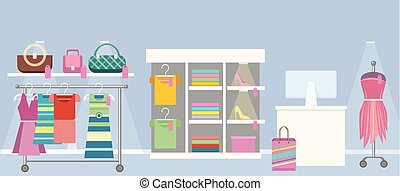Woman s Clothes Shop Concept Vector Illustration. - Boutique...