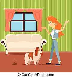 Dog training vector concept. Flat design. Woman scolding dog...