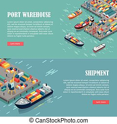 Port Warehouse and Shipment Banner. Vector - Port warehouse...