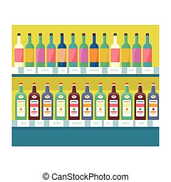 Shelves with Drinks in Grocery Store Vector. - Shelves with...