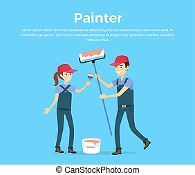 Painter Concept Vector in Flat Style Design. - Painter...