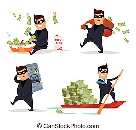 Set of Money Stealing Concepts Flat Design Vector - Set of...
