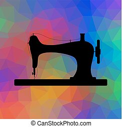Old sewing machine on triangular background with color flow effect