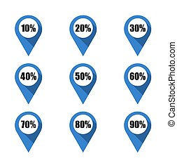Set of blue map pins with different percentage. Isolated
