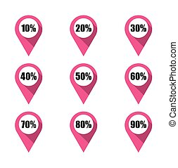 Set of pink map pins with different percentage. Isolated