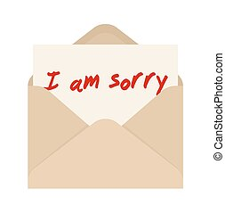 I am sorry card in brown envelope. The letter pulled out from an envelope
