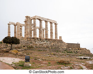 The Temple of Poseidon in Sounio - Ruins of an ancient Greek...