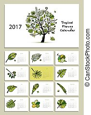 Tropical tree, calendar 2017 design