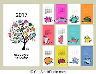 divertido, calendario, erizos,  2017, diseño