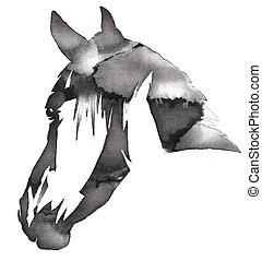 Empate, caballo, Ilustración, agua, negro, tinta, Monocromo,...