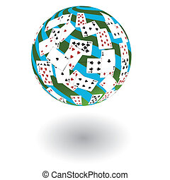 3d a sphere from playing cards.