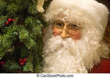 Portrait of Saint Nicholas - Close-up of Santa beside a...