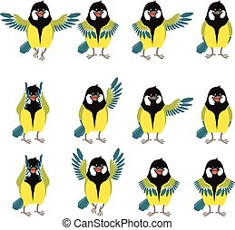 Flat icons of titmouse set - Vector image of the Set of flat...
