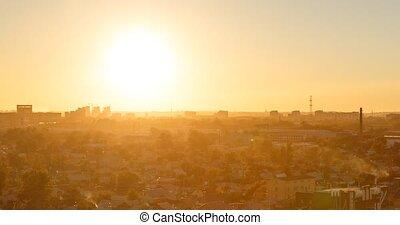 Sunset over the city of Karaganda. Kazakhstan. TimeLapse....