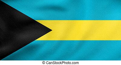 Flag of Bahamas waving, real fabric texture