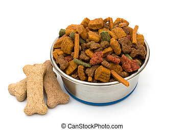 A Bowl of Dog Food - A bowl of dog food isolated on a white...
