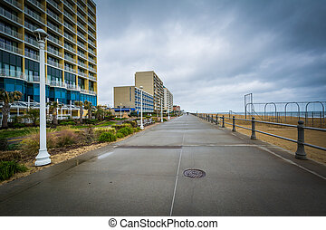The boardwalk and highrise hotels in Virginia Beach,...