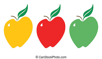 Apples_Yellow-Red-Green - Vector stylized apple in red,...