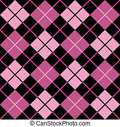 Argyle Pattern in Black and Pink - Seamless vector argyle...