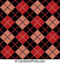 Argyle, Pattern_Black-Red-Salmon