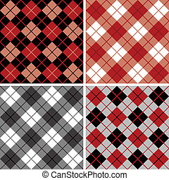 Argyle-Plaid Pattern in Black-Red - Vector seamless...