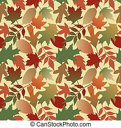 Autumn Leaves Gradient_Yellow - Seamless pattern of Autumn...