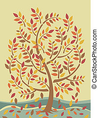 Autumn Tree - Vector stylized tree shedding its leaves