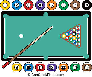 Billiards Table and Equipment - Stylized pool table, with...