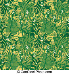 Budding Hosta Pattern - Seamless pattern of budding Hosta...