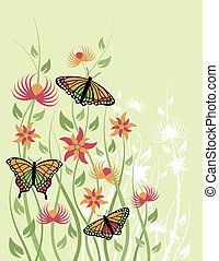 Butterfly Flower_Green Background