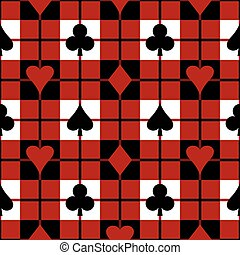 Card Suits Plaid Pattern - Seamless plaid pattern with the...
