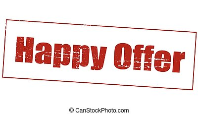 Happy offer - Stamp with text happy offer inside, vector...