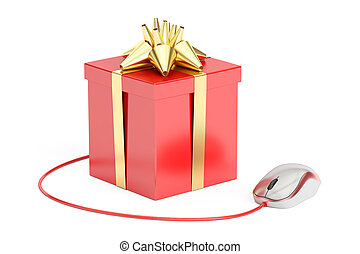 Gift box with computer mouse. Online shopping concept, 3D rendering