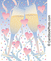 Champagne Celebration with Hearts