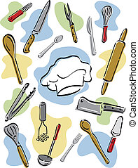 Chefs Tools - Vector illustration of kitchen utensils...