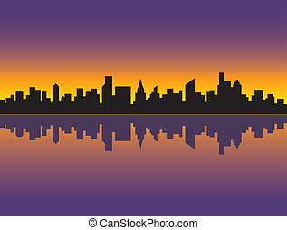 City Skyline_Sunset - A silhouette illustration of a generic...