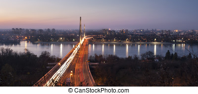Liberty Bridge Novi Sad - Sunset over Liberty Bridge in Novi...