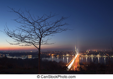 Liberty Bridge in Novi Sad - Sunset over Liberty Bridge in...