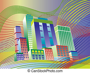 Colorful City - Illustration of a colorful city on a wavy...