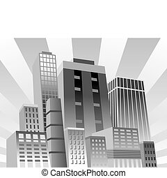 Confident City - Vector illustration of modern city in grays...