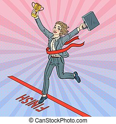 Pop Art Business Woman with Golden Winner Cup Crossing Finish Line. Vector illustration