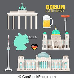 Berlin Germany Travel Doodle with Berlin Architecture, Beer...